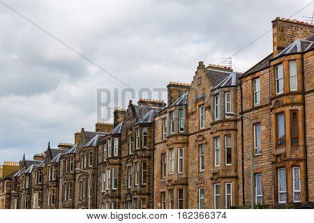 Typical Old Row Buildings In Edinburgh