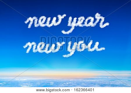 inspiration quoteNew year new your cloud text on blue sky and sun rise at morning timeMotivational typographic