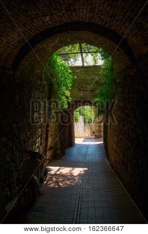 Dark Archway In San Gimignano, Italy