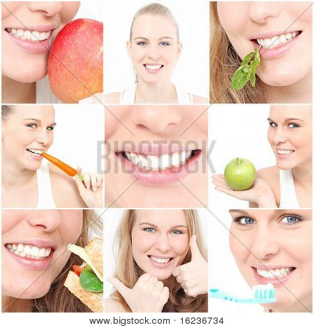 healthy teeth and eating collage