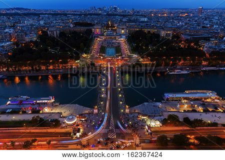 Aerial View Over The Trocadero Square In Paris