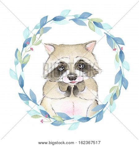 Raccoon and floral wreath. Watercolor illustration. Isolated on white background