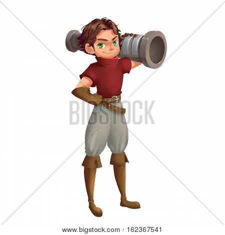 Cool Characters Series: Cannon Boy isolated on White Background. Video Game's Digital CG Artwork, Concept Illustration, Realistic Cartoon Style Background and Character Design