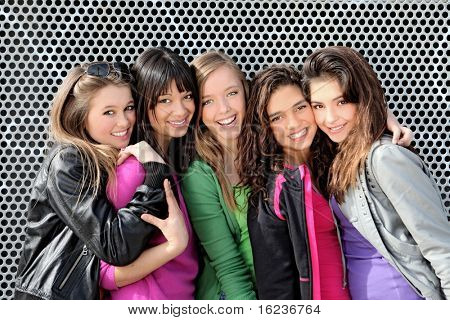 group of diverse mixed race or ethnic teenagers