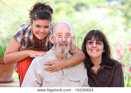 Happy  family grandad, mum and daughter, grandaughter, child grandpa, grandparent, parent,  or carers.