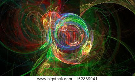 Colorful whirpool and curves abstract background 3D