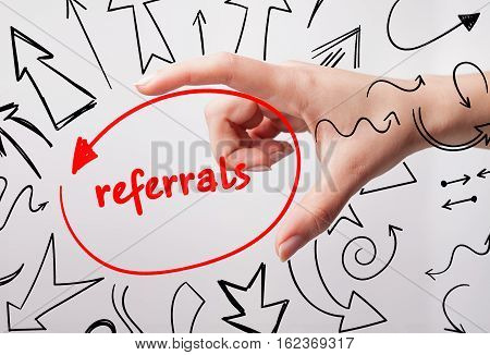 Technology, Internet, Business And Marketing. Young Business Woman Writing Word: Referrals