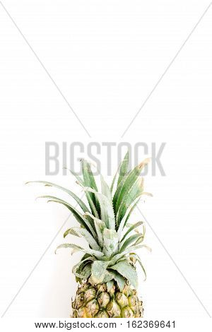 Pineapple on white background. Flat lay top view