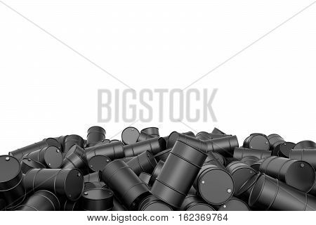 3d rendering of large pile of black oil barrels isolated on white background. Barrels and drums. Oil industry. Transporting liquid cargo.