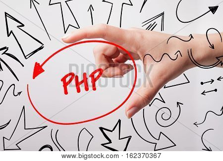 Technology, Internet, Business And Marketing. Young Business Woman Writing Word: Php
