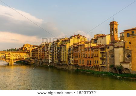 Old City Buildings Along The Arno In Florence