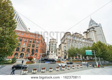 commercial building and scenery at Zhongshan Road taken in Shanghai on 16 November 2016