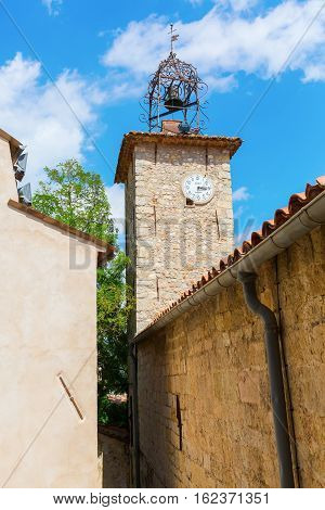 Historic Clock Tower In Seillans, France