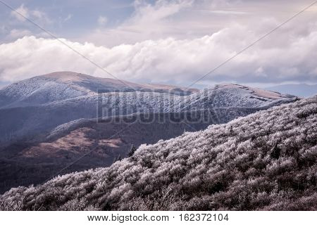 The Roan mountain chain as seen from the Grassy Ridge area along the Appalachian Trail in the Blue Ridge Mountains of North Carolina and Tennessee.