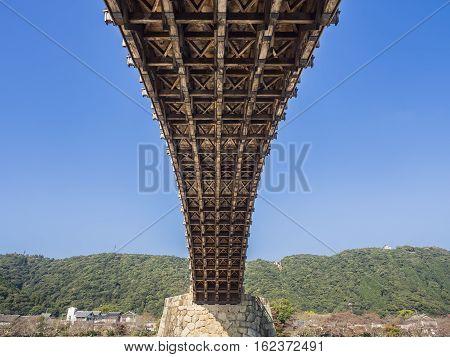 Kintai-Kyo Bridge details structure cross over Nishiki River Historical Cultural Landmark of Yamaguchi Prefecture