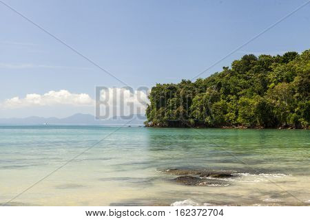 Beautiful beach with tropical trees with a wave of the sea and blue sky with white clouds. Thailand. Phuket.