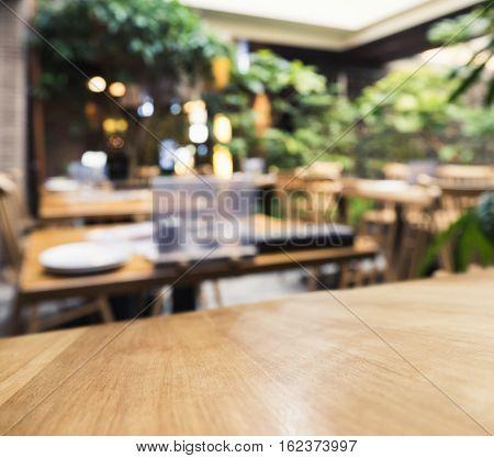 Table Top counter Bar Blur Restaurant Cafe in Garden outdoor