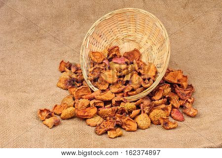 Dried sliced fruit  closeup on burlap background