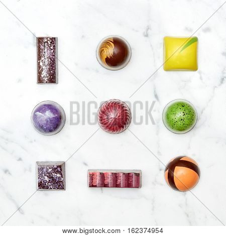 Set of various hand-made candies
