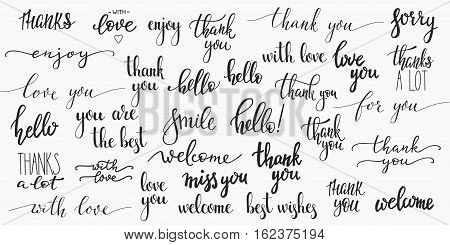 Lettering photography overlay set. Cute inspiration typography. Calligraphy photo graphic design element. Hand written sign. Love story family album decoration. Thank you Sorry Welcome Miss you Hello