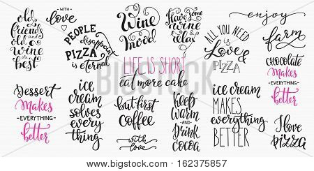 Lettering food beverage drink photography overlay typography set. Calligraphy style quote. Shop promotion motivation. Graphic design lifestyle lettering. Cafe restaurant inspiration promotion vector.