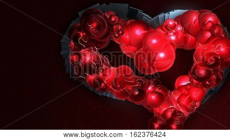 Abstract heart and blood. love, Valentine's Day. 3d render