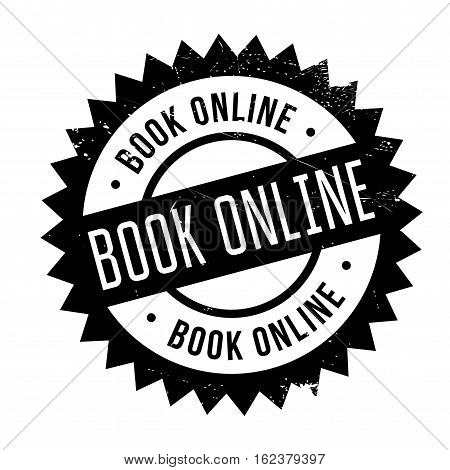 Book online stamp. Grunge design with dust scratches. Effects can be easily removed for a clean, crisp look. Color is easily changed.