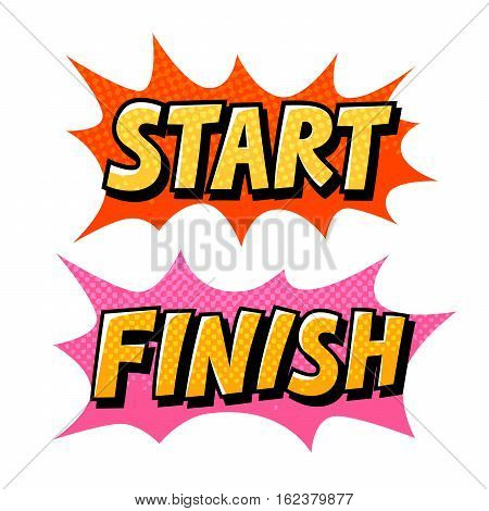 Start, Finish pop art comics icon. Speech bubble vector illustration isolated on white background