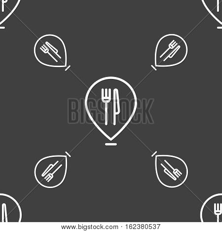 Map Pointer With Restaurant Icon Sign. Seamless Pattern On A Gray Background. Vector