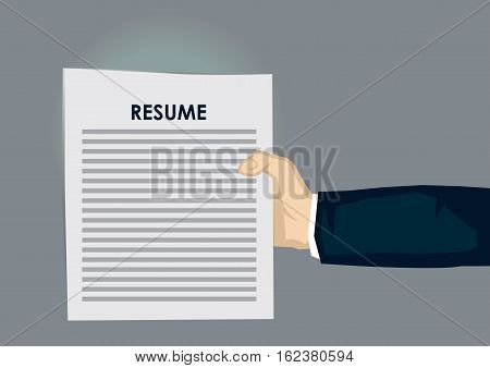 Cartoon hand holding paper document titled Resume isolated on grey background. Vector illustration on human resource and employment concept.