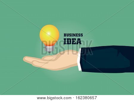 Vector illustration of a lit light bulb hovering above a receive hand in business suit. Concept for Business Idea isolated on green background.
