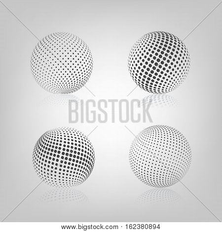 Gray sphere with halftone fill and mirror reflection isolated on white background vector illustration.
