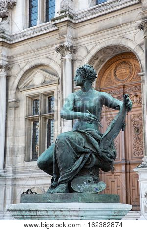 Bronze Sculpture At The Hotel De Ville In Paris