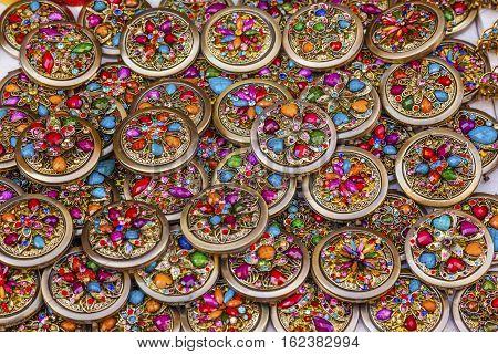 Colorful Souvenir Jewlery Many Colored glass stones hair clips necklace Guanajuato Mexico