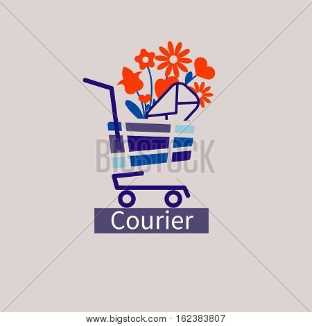 Logo vector icon courier service. Hand truck with a bouquet of flowers and a letter.