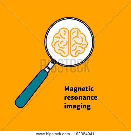 Icon MRI. Logo magnetic resonance imaging. Vector illustration. Brain under magnifying glass. Study.