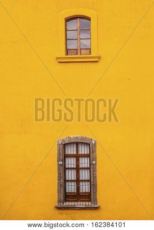 Bright Vibrant Colorful Yellow Wall Windows San Miguel de Allende Mexico