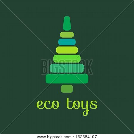 Eco toys. Icon logo wooden pyramid in form of tree for kids. Vector illustration. Symbol of health care. Natural materials.