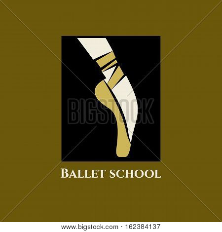 Vector logo ballet school. Icon classical dance class. Foot of ballerina in Pointe shoes with ribbons.