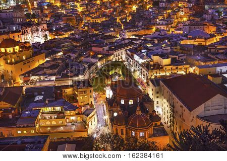 Red Dome Templo San Diego San Diego Church Jardin Town Square Juarez Theater Night Guanajuato Mexico From Le Pipila Overlook