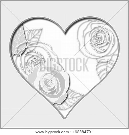 Valentines day abstract paper cutout heart with roses vector illustration