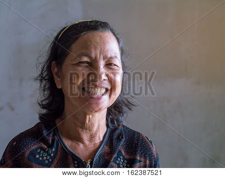 Old Thai Woman Smiling Grin