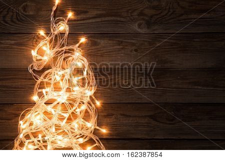 Glowing garland on empty background