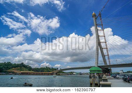 Muara,Brunei-Nov 12,2016:Construction of the Sungai Brunei Bridge across the Brunei River bisecting Bandar Seri Begawan,Brunei's capital city on 12th Nov 2016 in Brunei Darussalam.