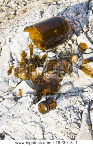 Shattered beer bottle resting on the ground: alcoholism concept