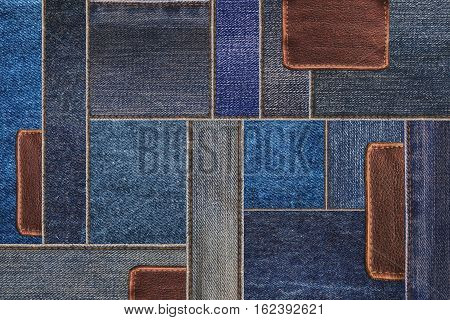 Denim jeans with leather tag texture background, patchwork denim jean with leather pattern
