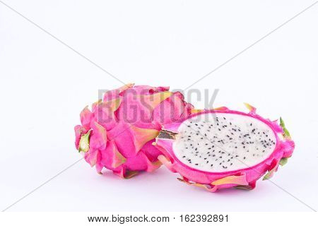 organic dragon fruit (dragonfruit) or pitaya on white background healthy dragon fruit food isolated organic dragon fruit (dragonfruit) or pitaya on white background healthy dragon fruit food isolated
