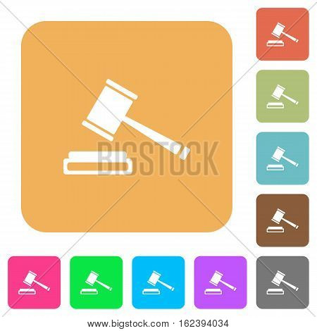 Auction hammer icons on rounded square vivid color backgrounds.