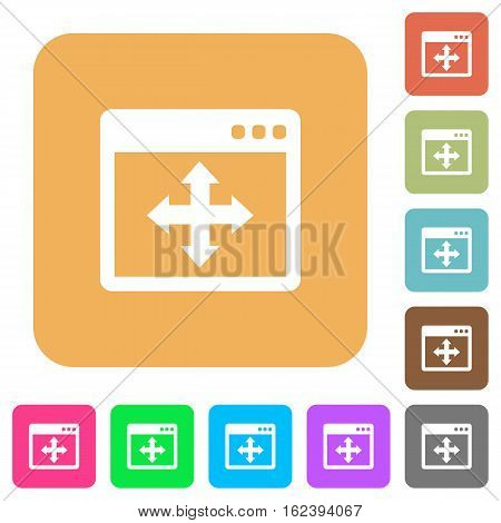 Move window icons on rounded square vivid color backgrounds.