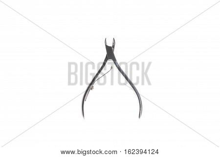 Metal manicure nipper, isolated on white background